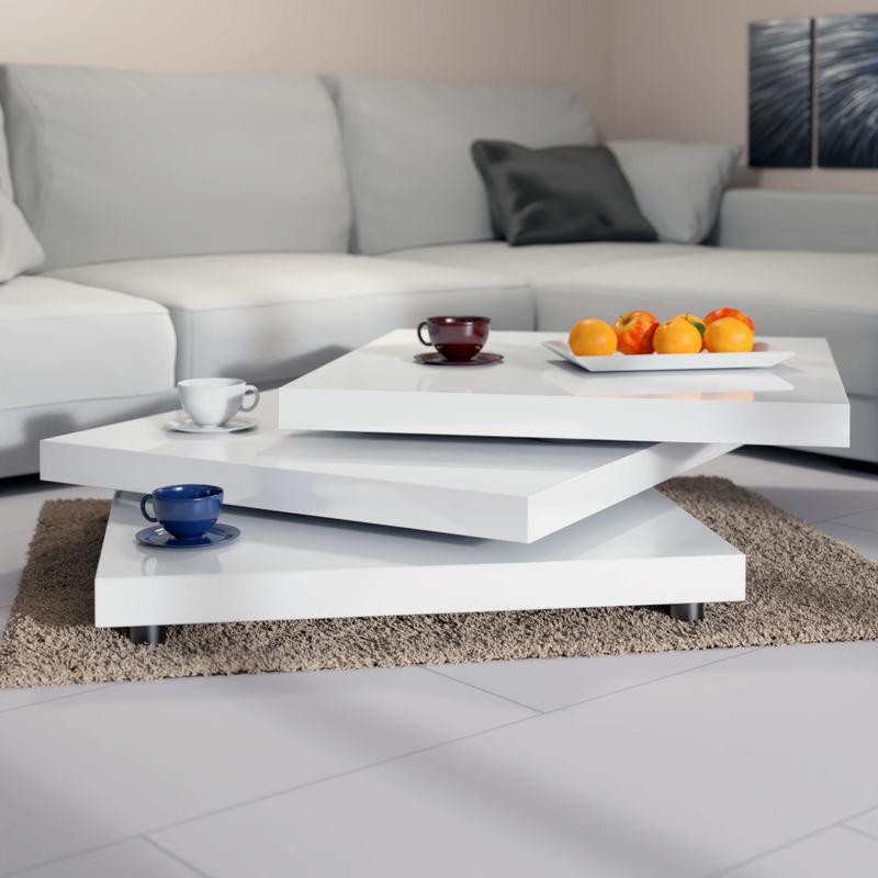 Coffee Table High Gloss White 360 Rotating Layers