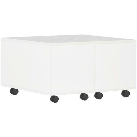 Coffee Table High Gloss White 60x60x35 cm Chipboard