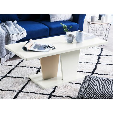 Coffee Table High Gloss White and Beige DOVER