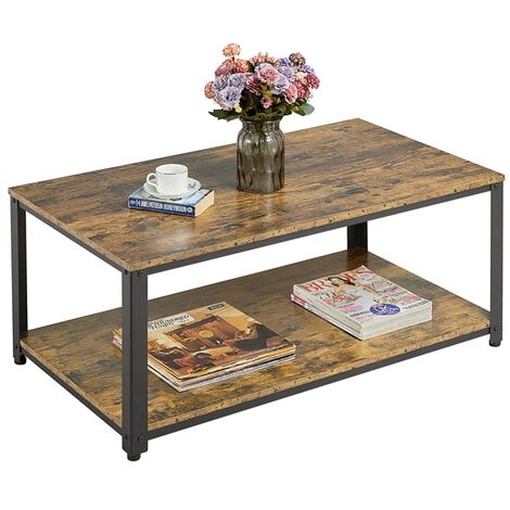 Coffee Table Industrial Side Table Living Room Table with Metal Frame, Large Storage Space, Tea Table, for Home Office 106x60x45.5cm
