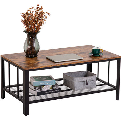 Coffee Table Industrial Side Table with Metal Frame Storage Shelf