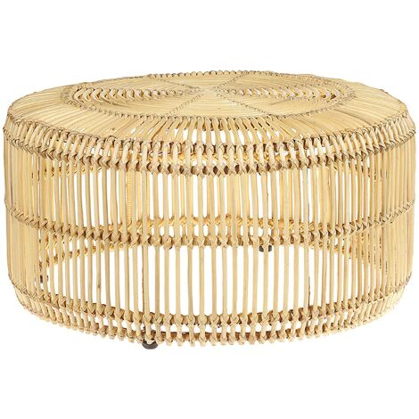 Coffee Table Light Wood Boho Rattan Outdoor Drum Shape Iron Frame 84 cm Limni