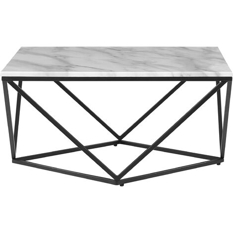 Coffee Table Marble Effect Black and White MALIBU