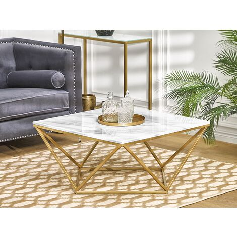 Coffee Table Marble Effect Gold and White MALIBU