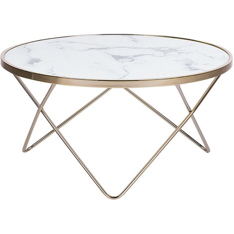 Coffee Table Marble Effect White with Gold MERIDIAN II