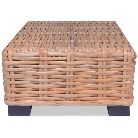 Coffee Table Natural Rattan 45x45x30 cm - Brown