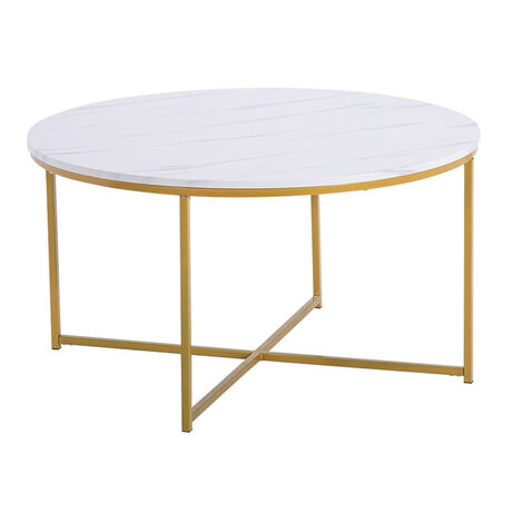 Coffee Table Round White,Side Table for Living Room Office 90x90x48.5cm