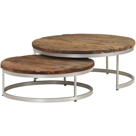 Coffee Table Set 2 Pieces Sleeper Wood And Steel