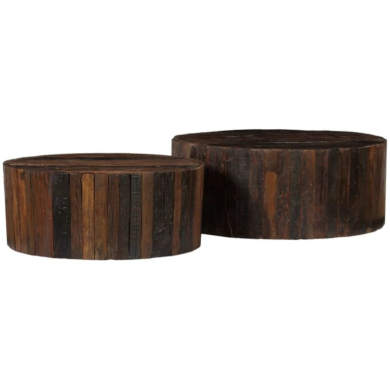 Coffee Table Set 2 Pieces Solid Reclaimed Sleeper Wood