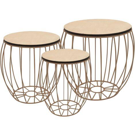 Coffee Table Set 3 Pieces Poplar Plywood Iron - White