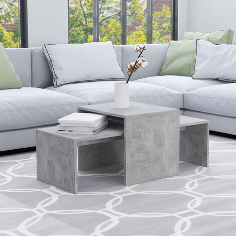 Coffee Table Set Concrete Grey 100x48x40 cm Chipboard