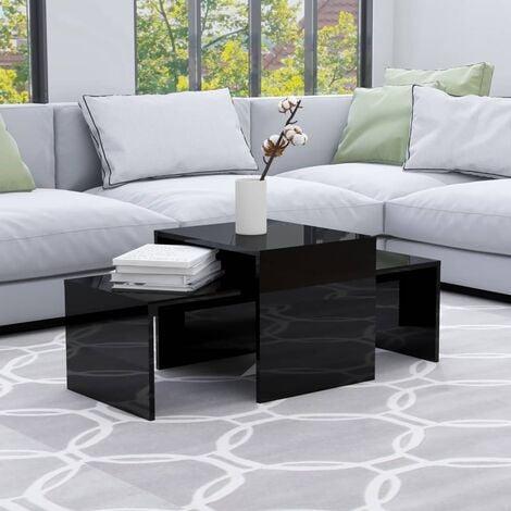 Coffee Table Set High Gloss Black 100x48x40 cm Chipboard - Black