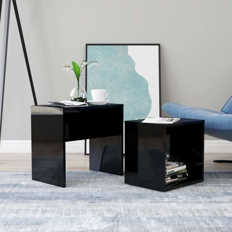 Coffee Table Set High Gloss Black 48x30x45 cm Chipboard
