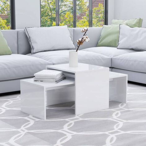 Coffee Table Set High Gloss White 100x48x40 cm Chipboard - White