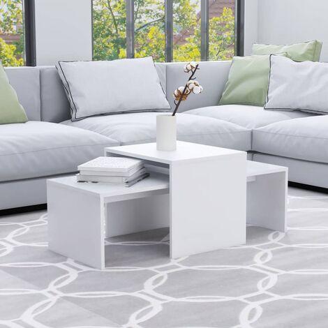 Coffee Table Set White 100x48x40 cm Chipboard