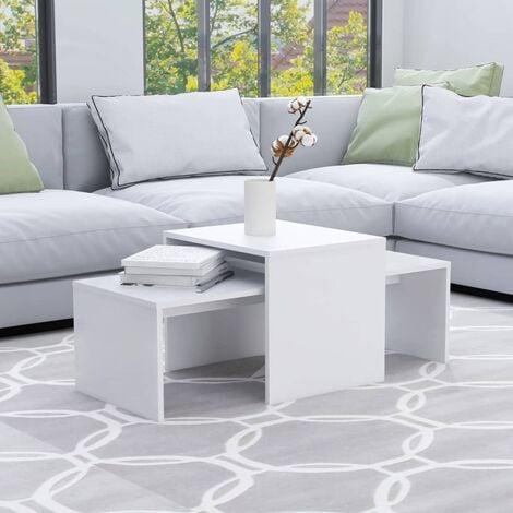 Coffee Table Set White 100x48x40 cm Chipboard - White