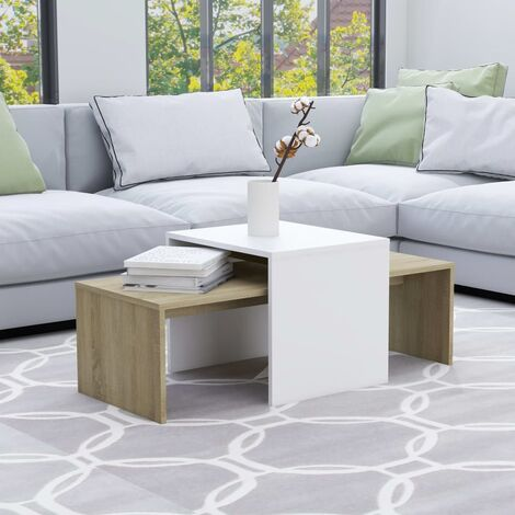 Coffee Table Set White and Sonoma Oak 100x48x40 cm Chipboard - Beige