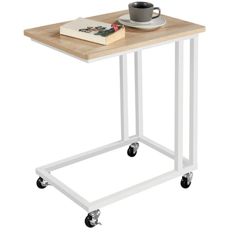 Coffee Table Side Table C-Shaped End Table, Bed Laptop Table with Metal Frame and Rolling Castors for Livingroom/Bedroom/Balcony