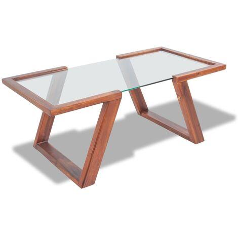 Coffee Table Solid Acacia Wood Brown 100x50x40 cm