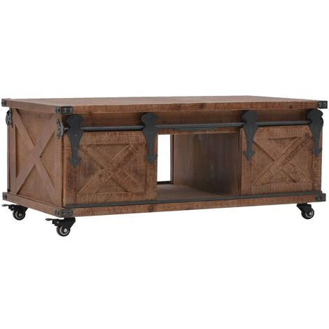 Coffee Table Solid Fir Wood 91x51x38 cm Brown