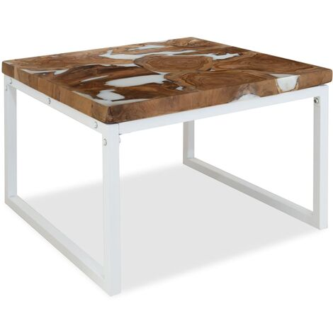 """main image of """"Coffee Table Teak Resin 60x60x40 cm White and Brown - White"""""""