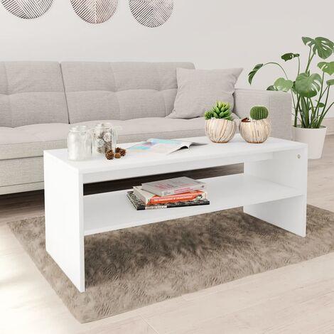 Coffee Table White 100x40x40 cm Chipboard - White