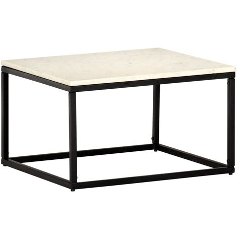 Coffee Table White 60x60x35 cm Real Stone with Marble Texture