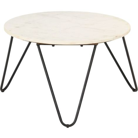 Coffee Table White 65x65x42 cm Real Stone with Marble Texture