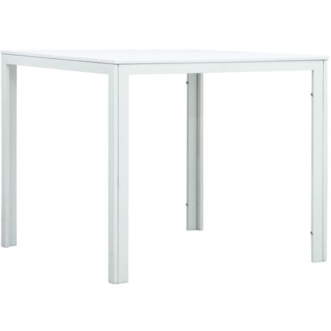 Coffee Table White 78x78x74 cm HDPE Wood Look
