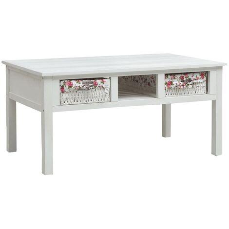 Coffee Table White 99.5x60x48 cm Wood