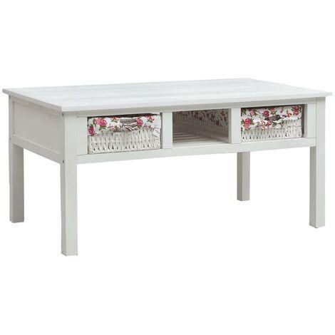 Coffee Table White 99.5x60x48 cm Wood - White