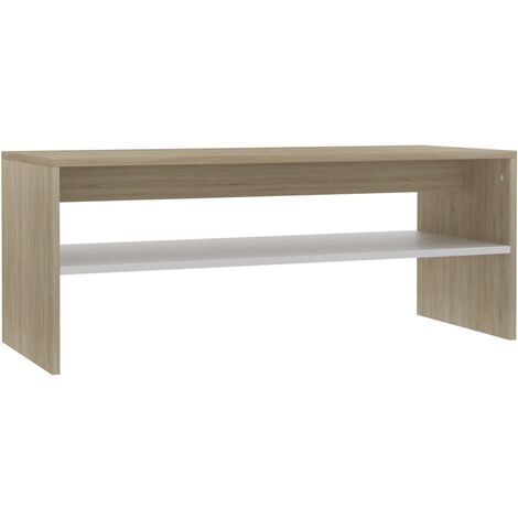 Coffee Table White and Sonoma Oak 100x40x40 cm Chipboard