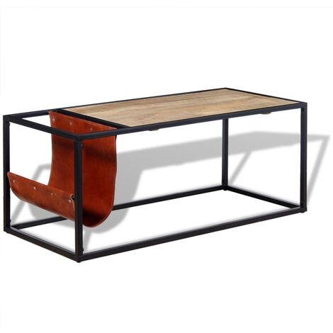 Coffee Table with Genuine Leather Magazine Holder 110x50x45 cm - Brown