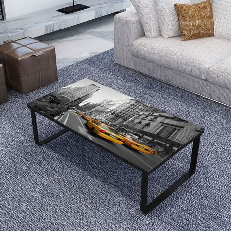 Coffee Table with Glass Top Rectangular - Multicolour