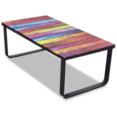 Coffee Table with Rainbow Printing Glass Top - Multicolour