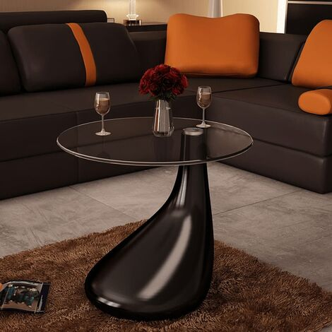 Coffee Table with Round Glass Top High Gloss Black