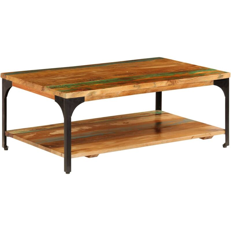 Coffee Table With Shelf 100x60x35 Cm Solid Reclaimed Wood