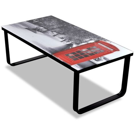 Coffee Table with Telephone Booth Printing Glass Top - Multicolour