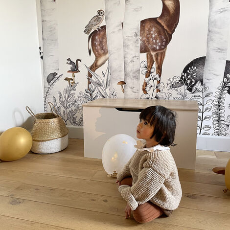 """main image of """"Coffre à jouet. bois massif pin naturel blanc - Tobias - 80x40 cm. couvercle rabattable. poignées latérales"""""""