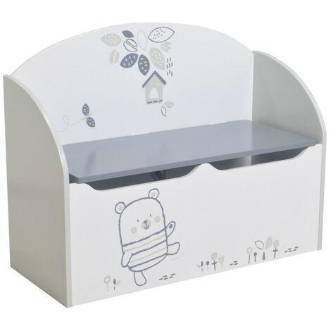 Coffre à jouets Blanc / Gris NOUNOURS - Blanc