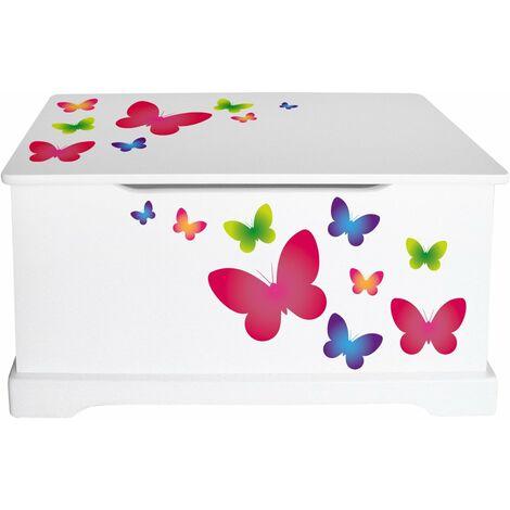 Coffre à jouets en bois Papillons