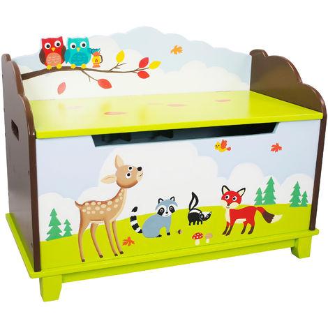 Coffre à jouets enfant en bois rangement chambre bébé mixte Enchanted Woodland TD-11707A
