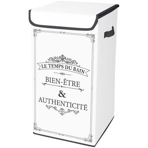 Coffre à linge intissé 54L Vintage - Blanc