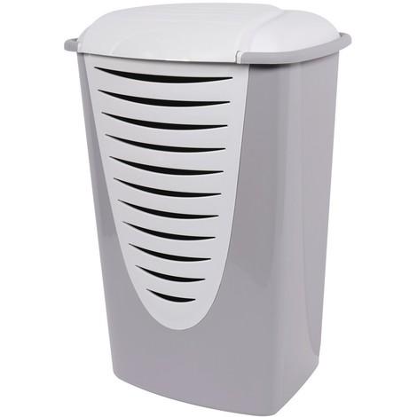 Coffre à linge plastique 45,1 x 38,8 x 66,5 gris / couvercle blanc 60 l