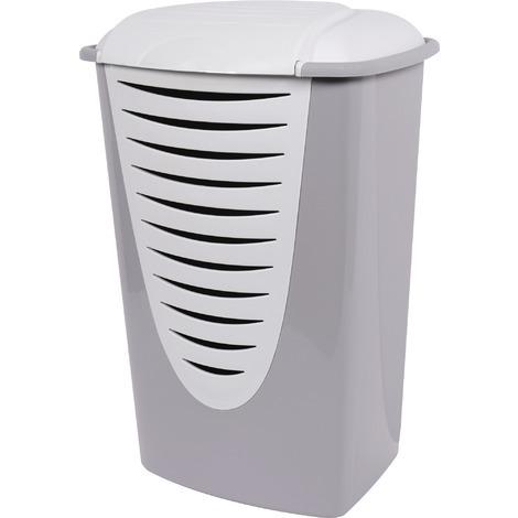 Coffre à linge plastique Eda - Gris / couvercle blanc 70 l - Coffre : gris Couvercle : blanc