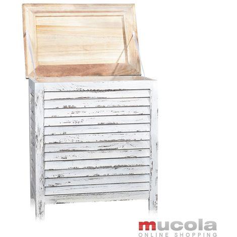 coffre à linge style Shabby coffre en bois blanc coffre en lamelles coffre en bois