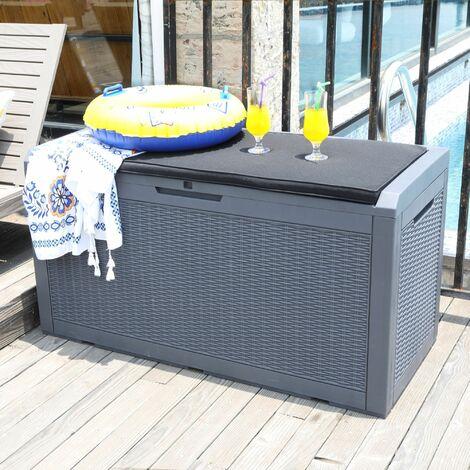 Coffre - Banc de jardin 380L - Coffre de stockage extérieur anthracite - Coffre de rangement coussin intégré effet tresse
