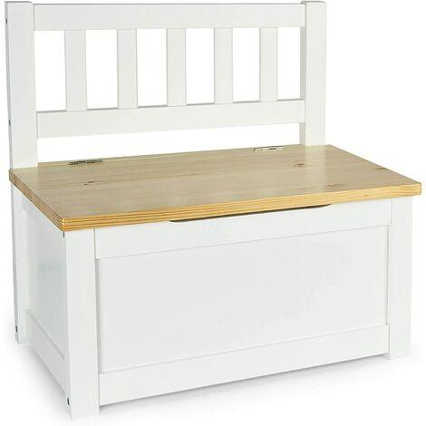 Coffre/banc en bois POLA (blanc/pin)