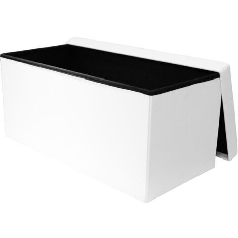 Coffre banc pliable capitonné- L 76,5 cm - Blanc - Livraison gratuite