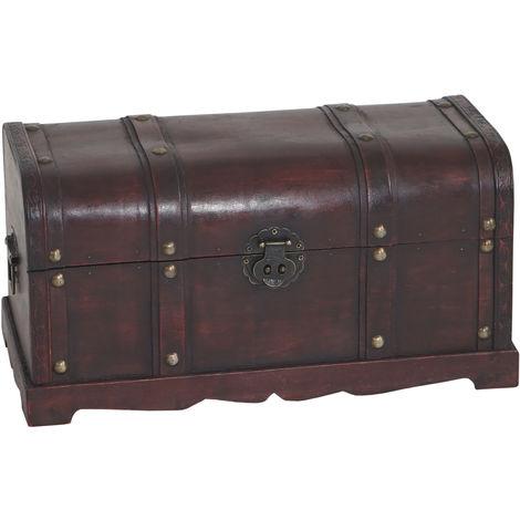 Coffre bois de décoration malle au trésor Valence aspect antiquité, 30x57x29cm